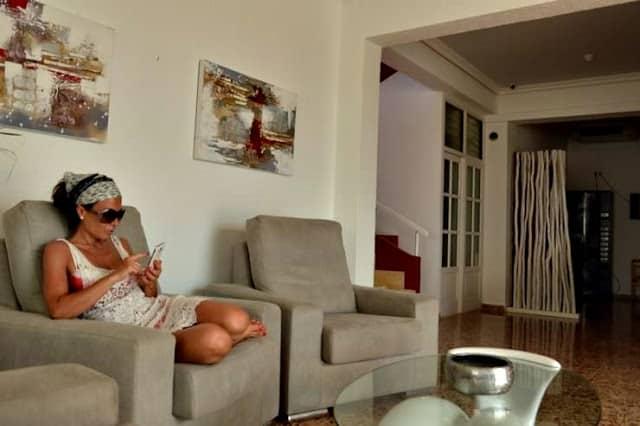 Recepción del hotel Lago Playa en Formentera