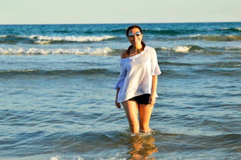 En playa larga de Salou