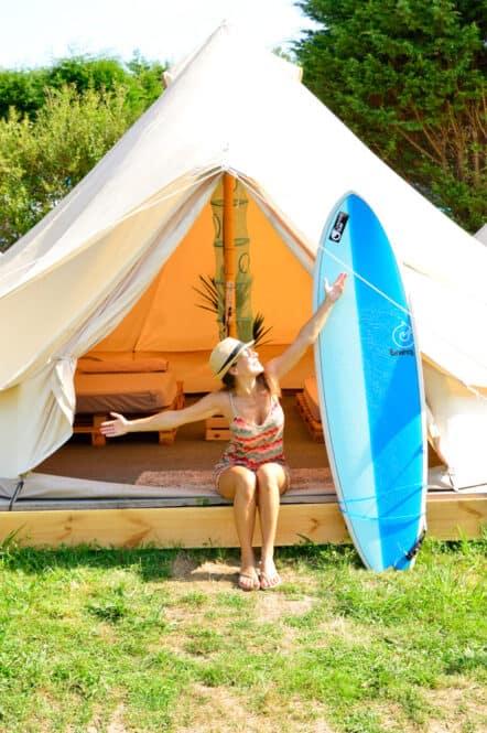 Tipis en Camping Oyambre Beach con Oyambre Surf Camp